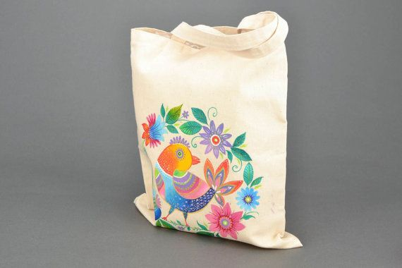 Homemade painted fabric bag | Bags & Co | Pinterest | Best Fabric ...