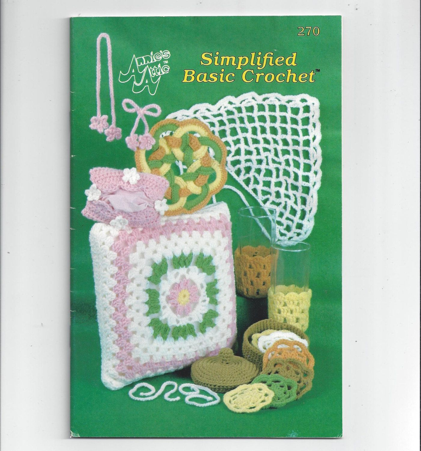 1990s Annie's Attic Simplified Basic Crochet Book 270, A Crochet Course, How to Hold Hook & Thread, Hair Bows, Peasant Scarf, Hot Pad, More by VictorianWardrobe on Etsy