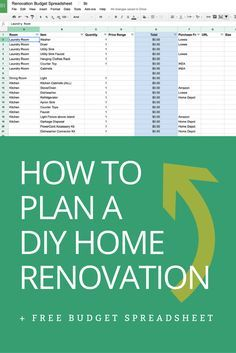 how to plan a diy home renovation budget spreadsheet home rh pinterest com