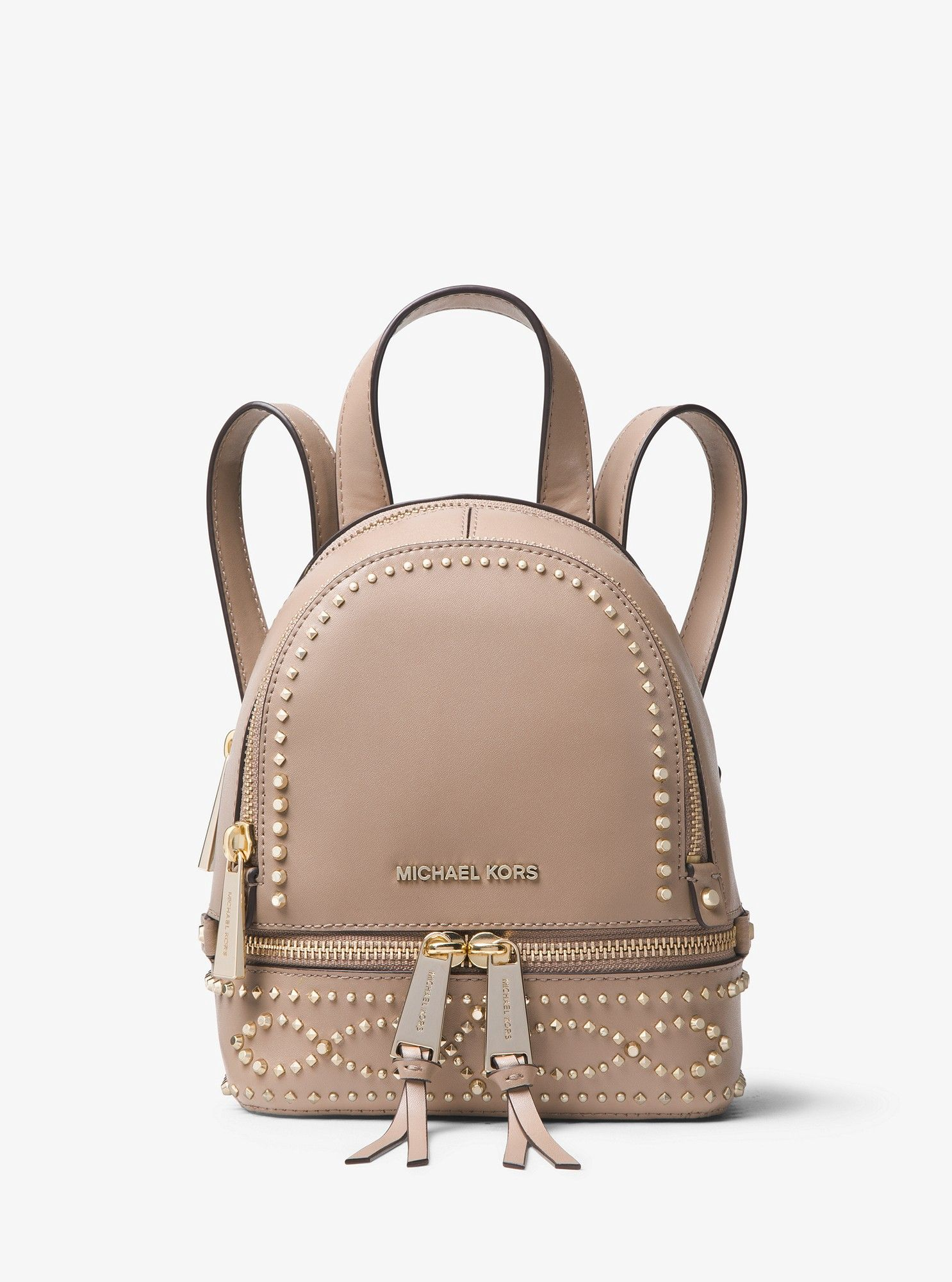 b2cb035a6c Michael Kors Rhea Mini Studded Leather Backpack - Truffle