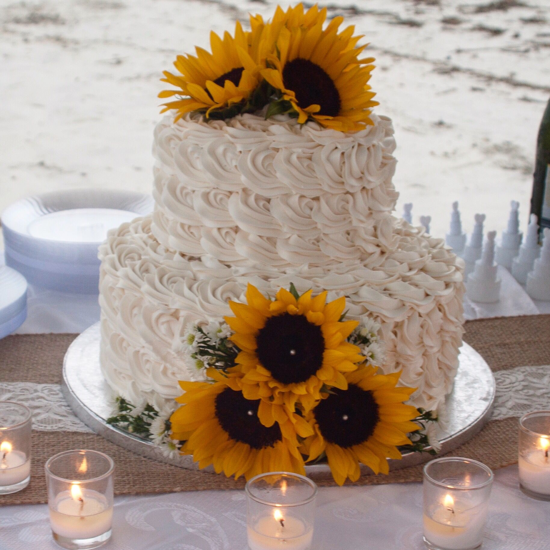 Sunflower Wedding Cake Ideas: Our Wedding Cake. Cake Made From Publix Bakery. Our