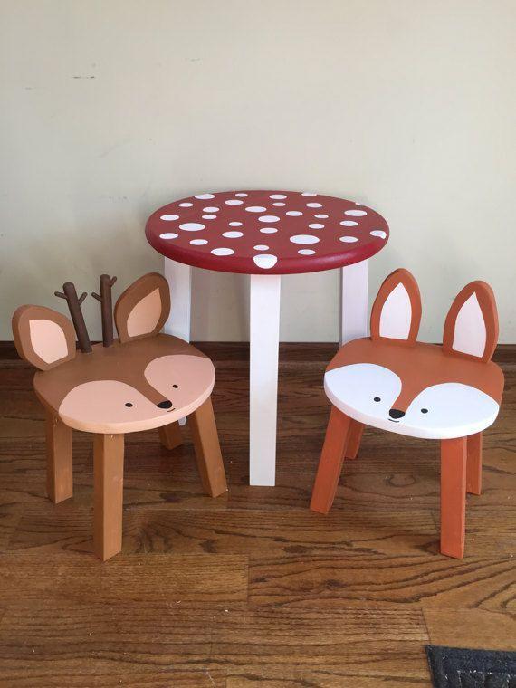 Toadstool Table U0026 Chairs   Kids Furniture   Woodland Animal Stools   Toddler  Chairs  Red + White Mushroom Table   Fox Raccoon Rabbit Deer