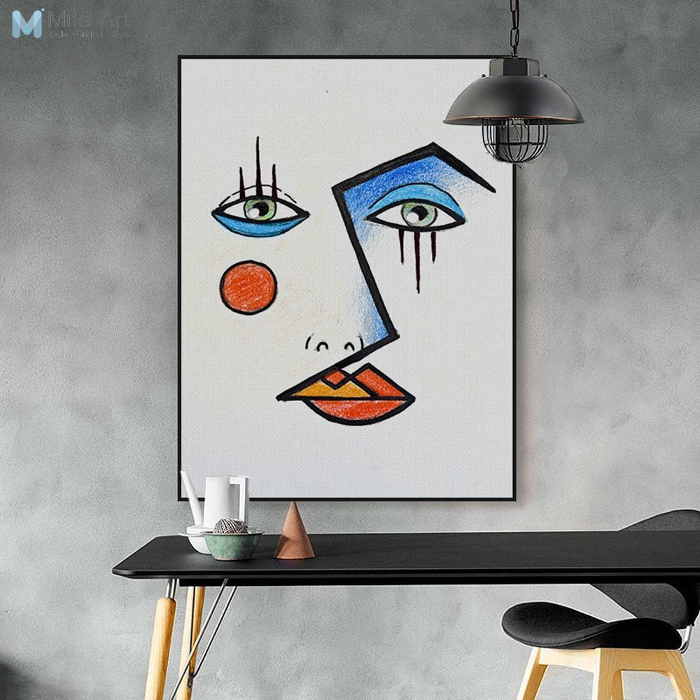 Modern Abstract Minimalist Face Picasso Posters Prints Nordic Living Room Wall Art Pictures Home Decor C Modern Art Pictures Wall Art Living Room Room Wall Art #posters #for #living #room #walls