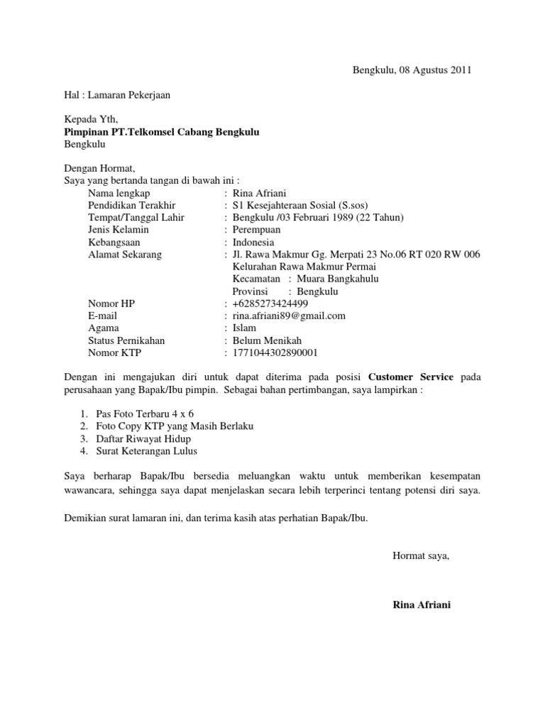 Contoh Surat Lamaran Telkom Surat Cv Kreatif Kerja