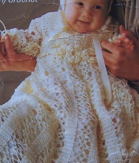 CROCHET PATTERN  Christening Baptism Gown and Bonnet by carolrosa