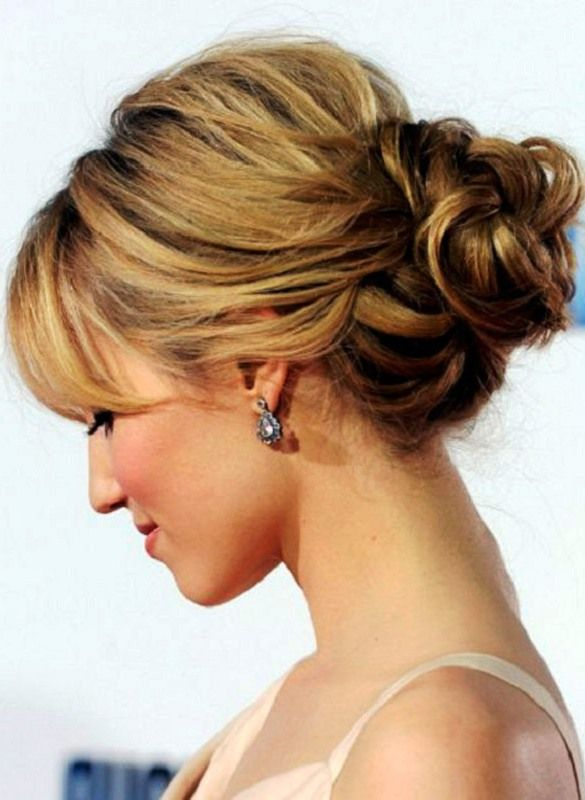 Hairstyles For Fine Hair Round Face Updos For Medium Length Hair