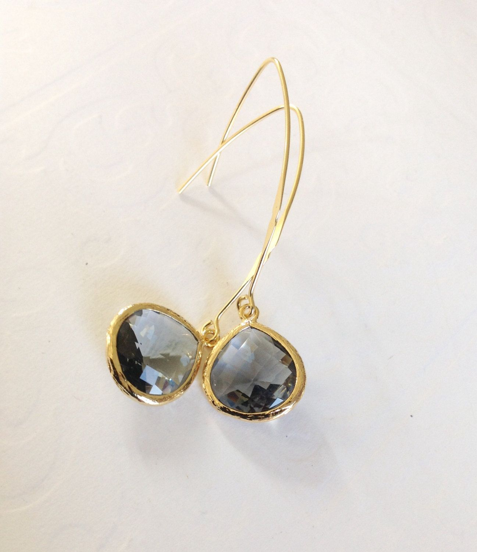 Gold Dangle Earrings grey and gold dangle earrings Boho gold