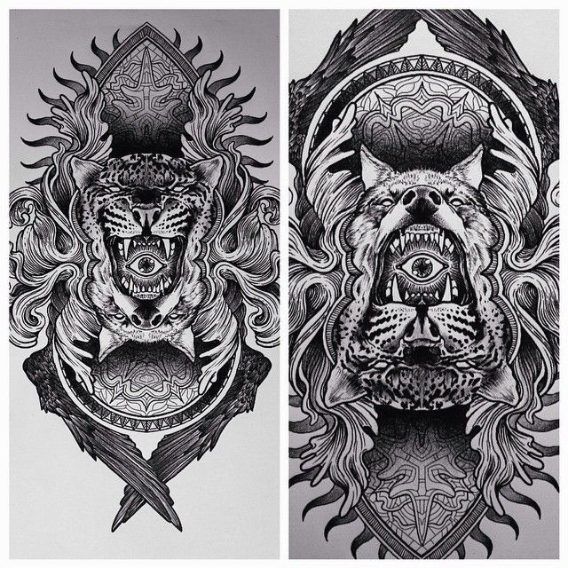 broslavskiy sketch tattoo graphic etching linework