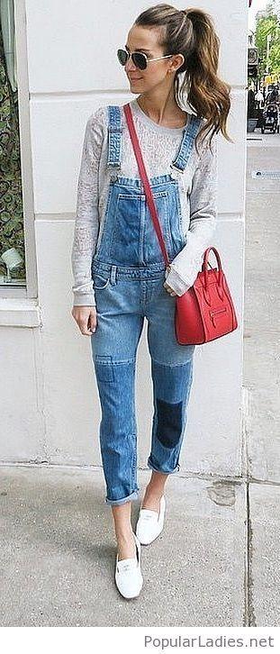 Denim jumpsuit and grey blouse   Fashion   Pinterest   Fashion ... 61d32dc07c