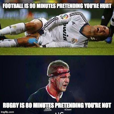 Soccer Vs Rugby Not Hurt Sport Humour Citation Rugby Blague Foot