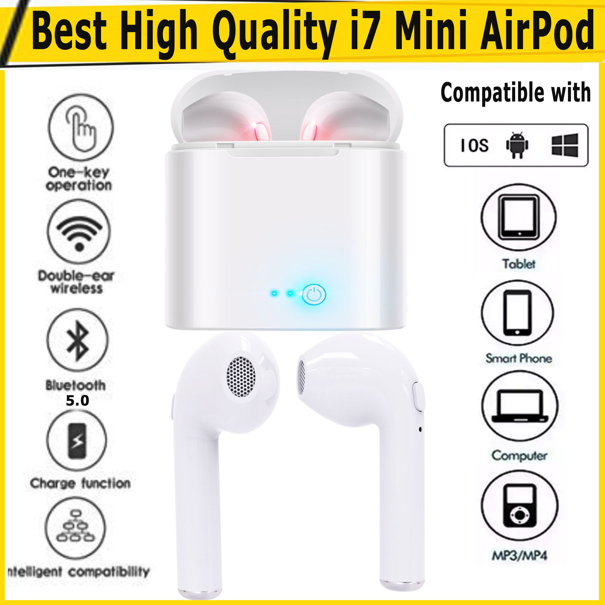 High Quality Twins I7 Mini Airpod With Charging Docks I7s Tws Mini Wireless Handfree Earbuds Earbuds Wireless Mobile Price