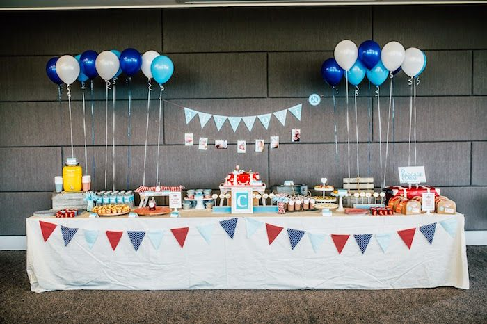 Party Display from an Airplane in the Clouds Aviator Birthday Party via Kara's Party Ideas KarasPartyIdeas.com (12)