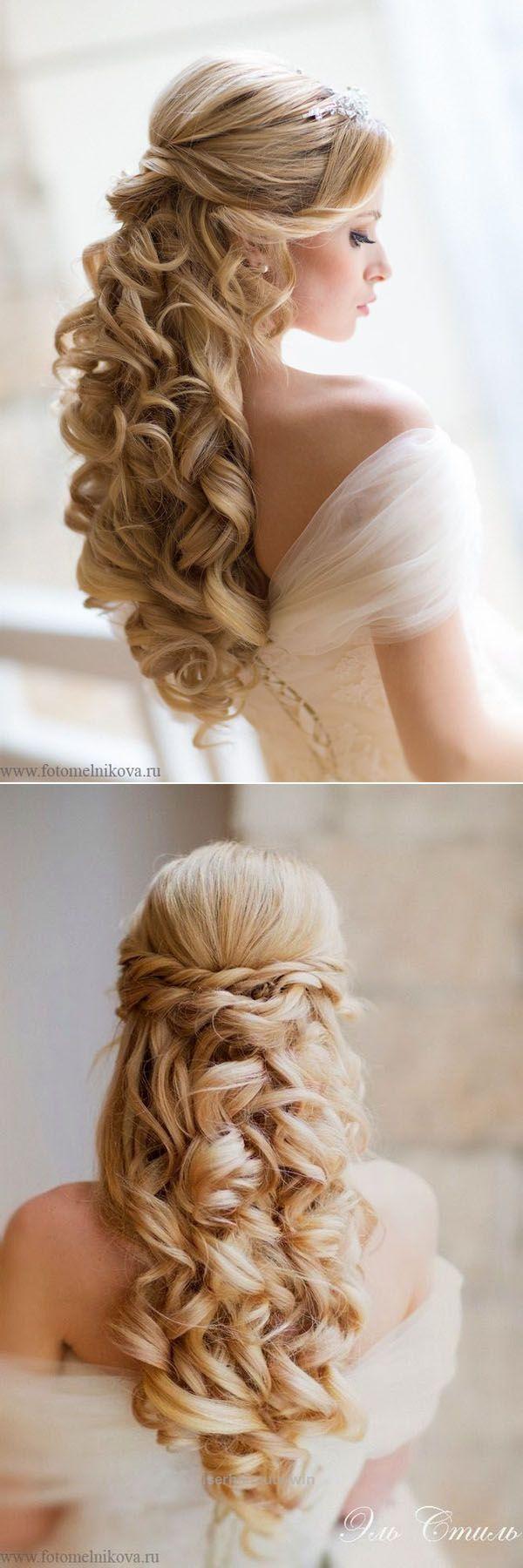 Gorgeous half down loose curls wedding hairstyles prom dress