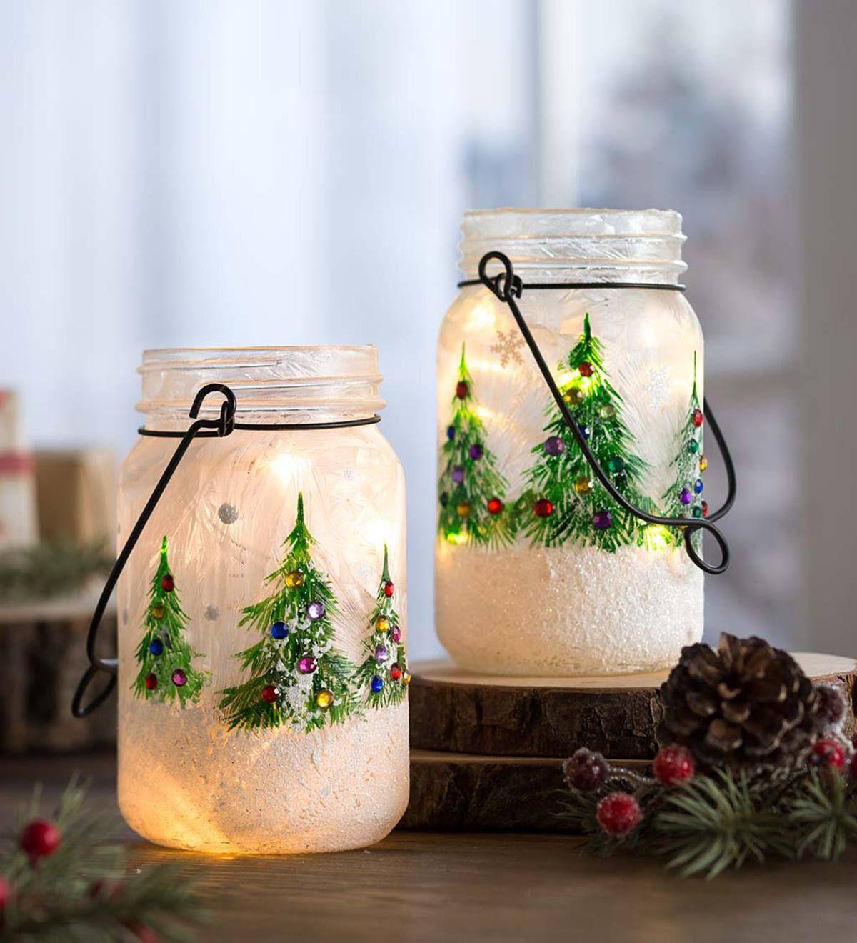 Snowy Christmas Tree Mason Jars Set Of 2 Mason Jar Diy Diy Mason Jar Gifts Christmas Christmas Mason Jars Diy