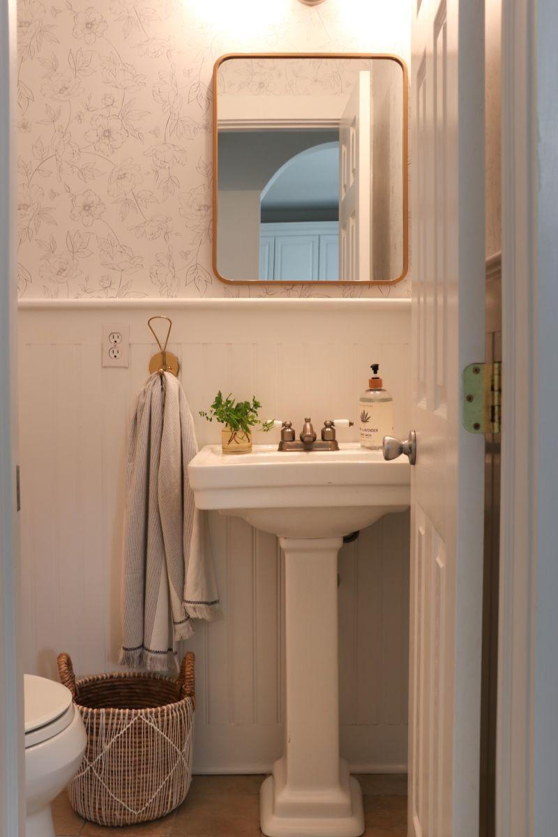 Botanical Bathroom Makeover The Best Removable Wallpaper Best Removable Wallpaper Bathroom Makeover Removable Wallpaper Bathroom