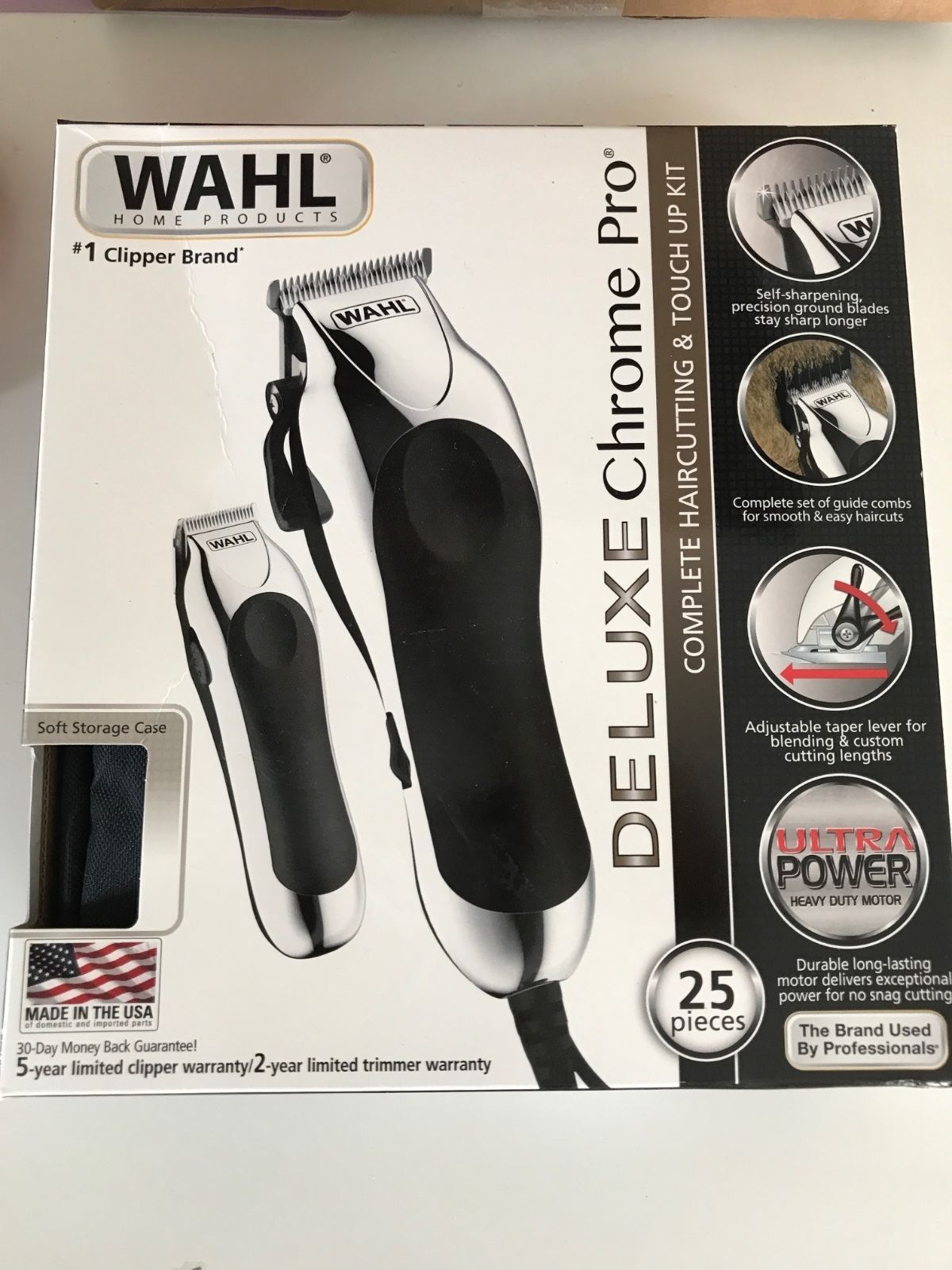 Deluxe Clipper kit 25 pc WAHL Chrome pro haircutting pet
