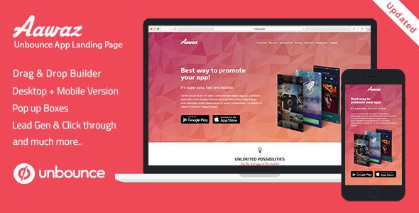 Unbounce App Landing Page Template - Aawaz . Unbounce has features ...