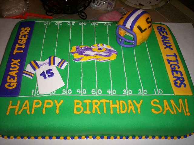 Terrific Lsu Cake With Images Lsu Happy Birthday Sam Football Birthday Personalised Birthday Cards Veneteletsinfo