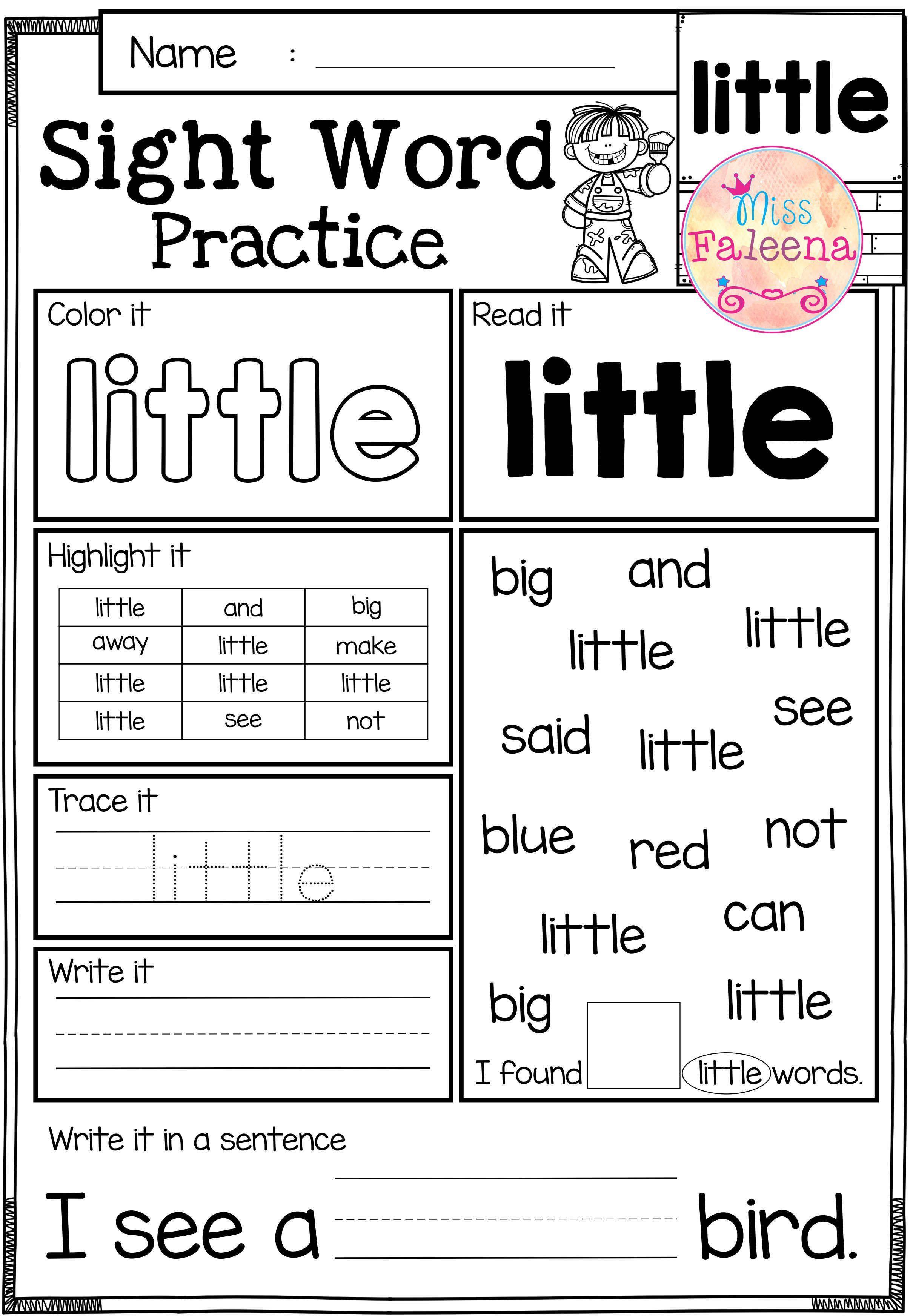 Sight Word Practice Preprimer Teachingchildren