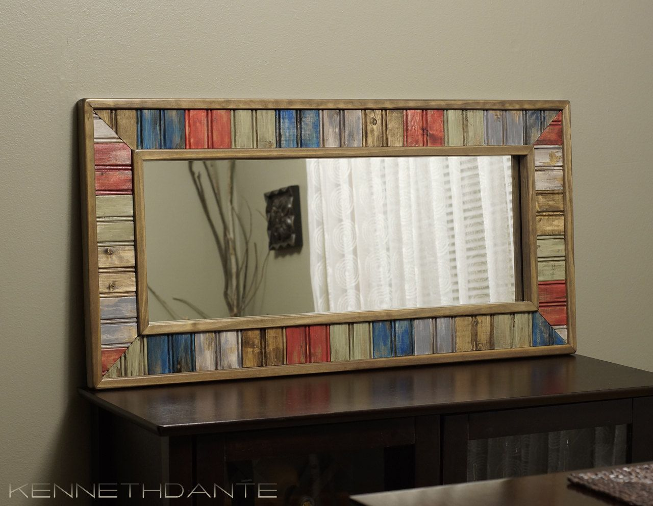 Multicolor Bead Board Picture Google Search Distressing Painted Wood Rustic Mirrors Distressed Wood Mirror