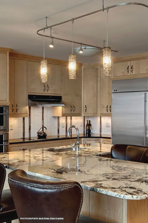 Kitchen with Satin Nickel LBL Monorail with Mini Rock ...