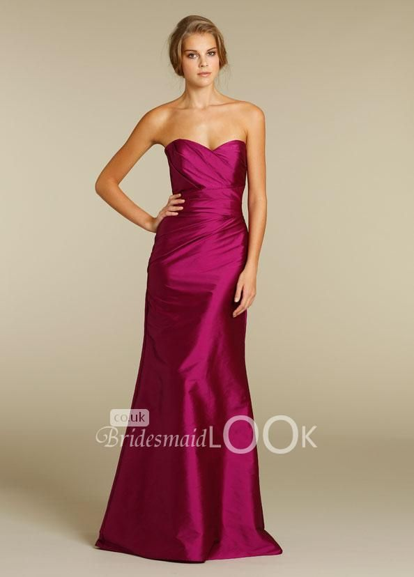 fuschia taffeta discount bridesmaid dress with draped sweetheart ...