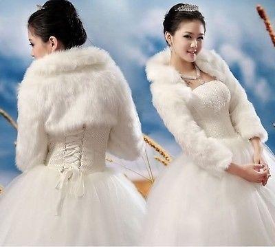 New Ivory Faux Fur Wrap Shrug Bolero Coat Bridal Shawl Accessories ...