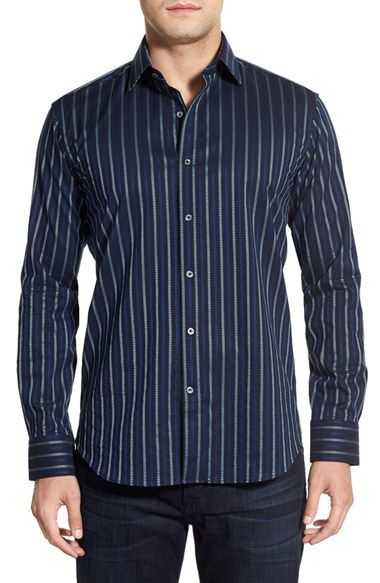 Bugatchi Classic Fit Stripe Sport Shirt available at #Nordstrom