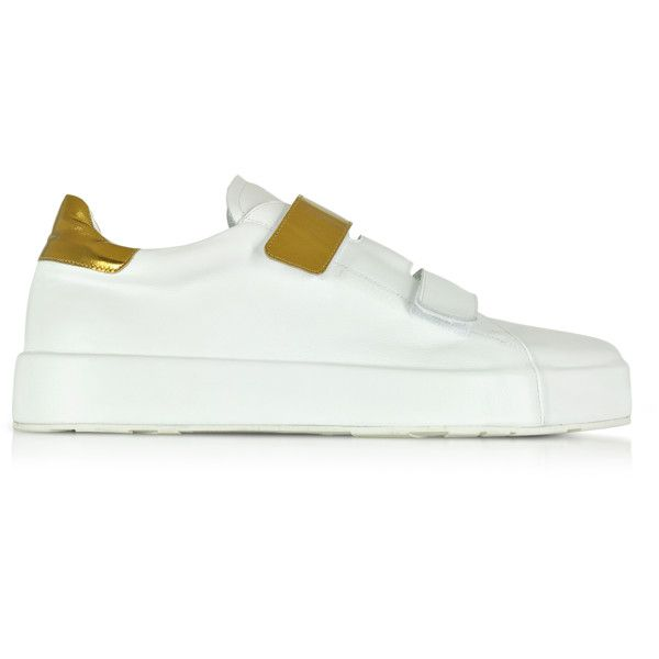 9081121a2 Jil Sander Shoes White and Laminated Leather Women s Sneaker (35.170 RUB)    liked on Polyvore featuring shoes