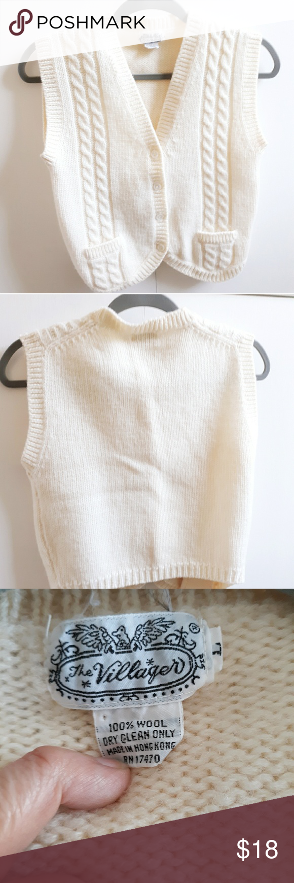 Vintage The Villager Cream Wool Knit Sweater Vest Knitted Sweaters Sweater Vest Cable Knit Sweaters