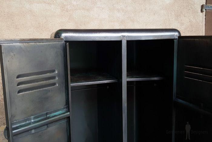 Armoire deux portes, vestiaire, rangement en métal, style indus - peindre une armoire en bois