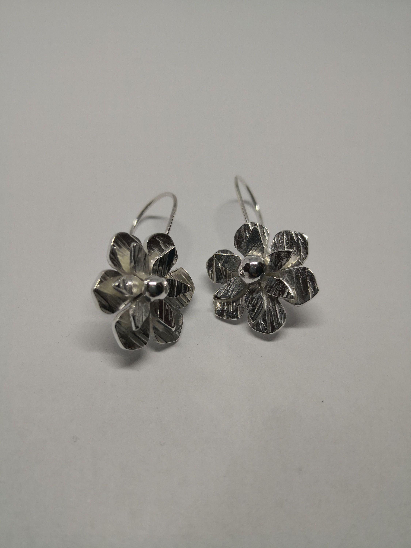 Silver Material Earrings Women Girls Flower Round Dangle Earrings White Wedding White