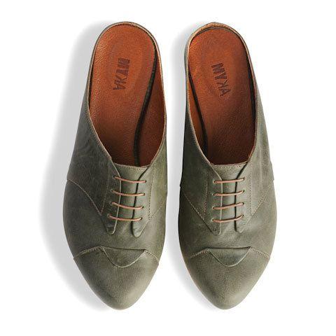 flache Olive verstopft Damenschuhe Leder Olive Schuhe von MYKAshop