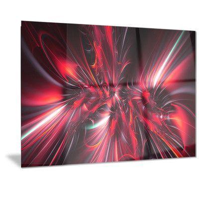 "DesignArt Metal 'Red Implosion' Graphic Art Size: 12"" H x 28"" W"