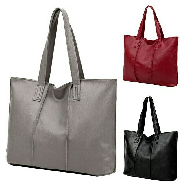 617145837dc3 Women Fashion Faux Leather Large Capacity Zipper Shoulder Bag Tote Handbag