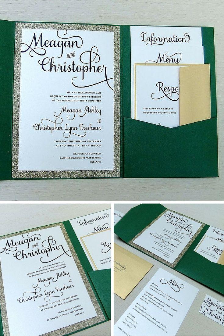 209664353e8903 Emerald Green and Gold Glitter Wedding Invitation set -- Pocket Wedding  Invite