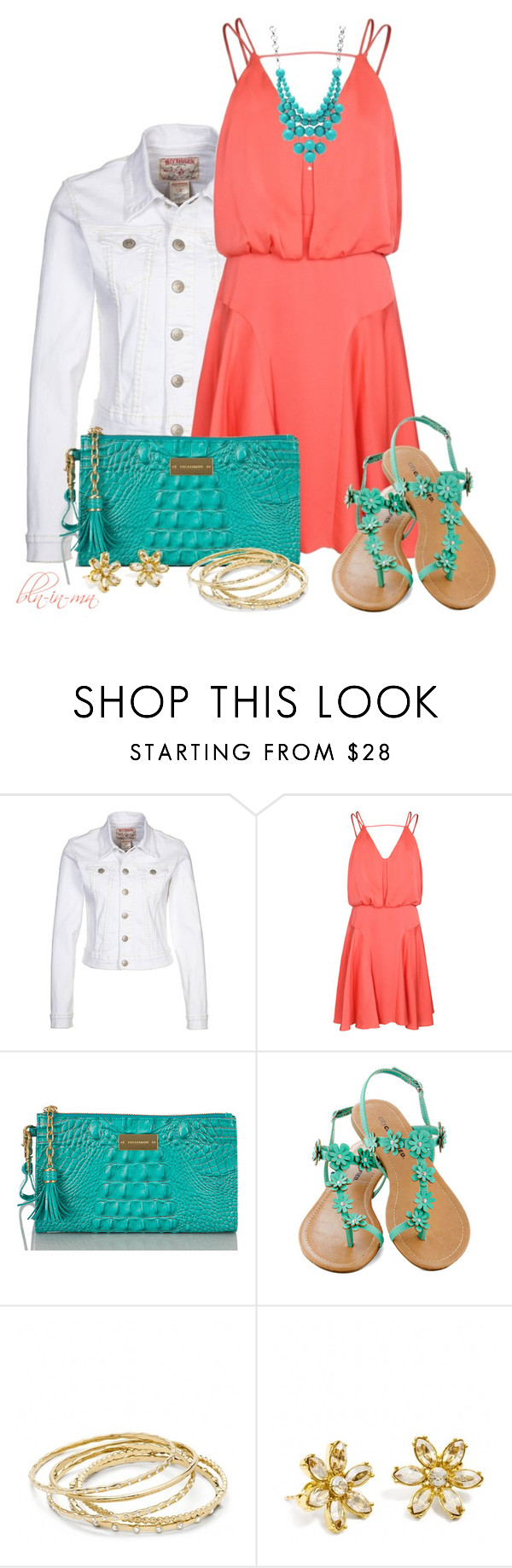 """Coral & Teal"" by bln-in-mn ❤ liked on Polyvore featuring True Religion, Milly, Brahmin, Coach and FOSSIL"