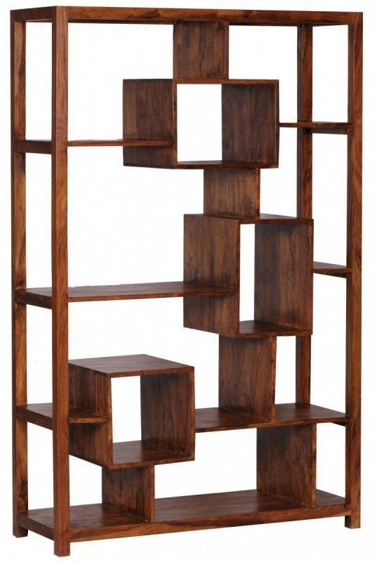 Wohnling Design Sheesham Massivholz Bücherregal 115 x 40 x 180 cm - wohnzimmer regale design