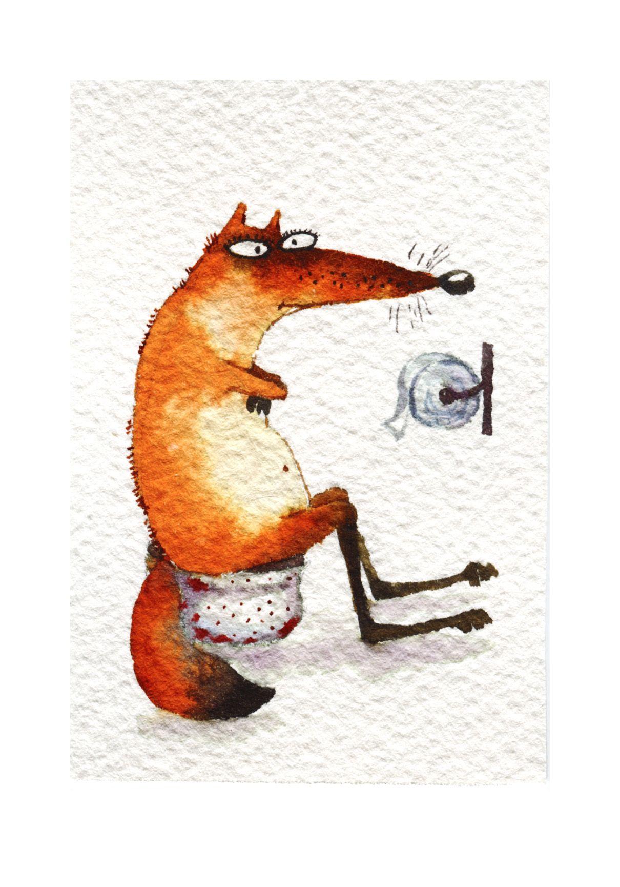 Поздравления днем, рисунок лисы прикольные
