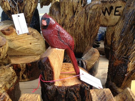 Chainsaw carved cardinal by sawncarve on etsy