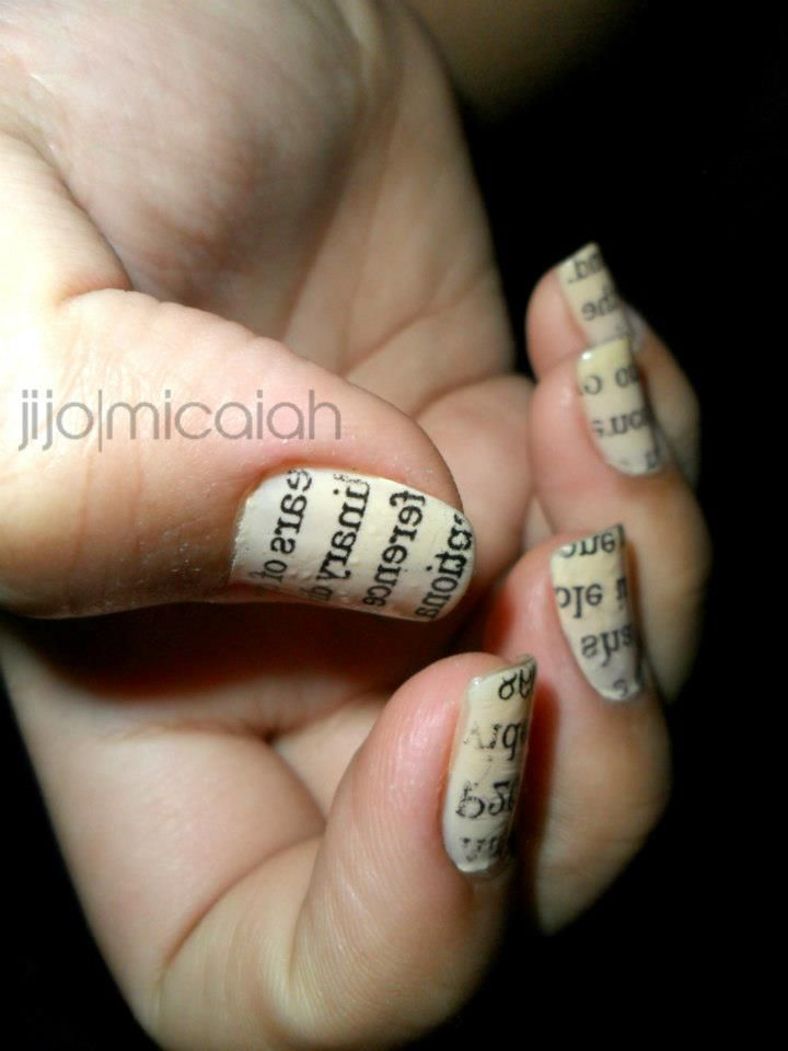 newspaper nail art | Nails | Pinterest | Newspaper nail art ...