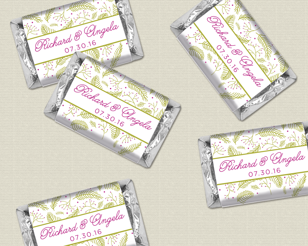 Mini Sized Candy Wrappers with Botanical / Fern Theme - Pick your ...
