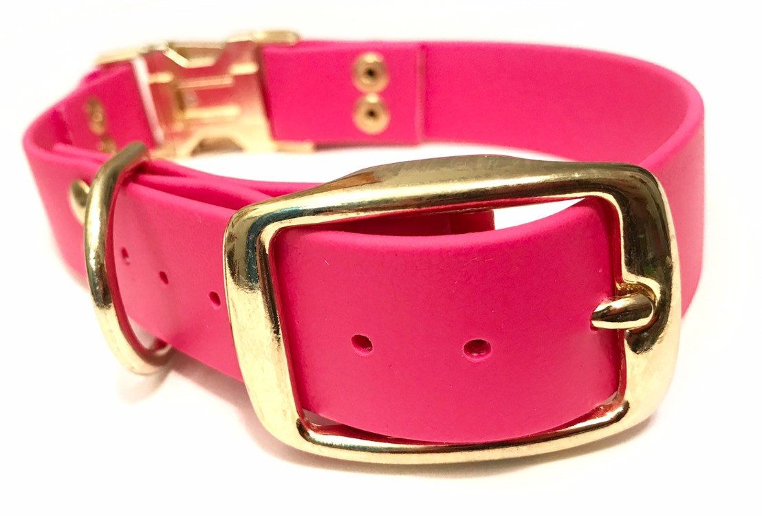 1 Waterproof Red Dog Collar   Sturdy Dog Collar   Dog Collar with Metal Buckle  Biothane Dog Collar