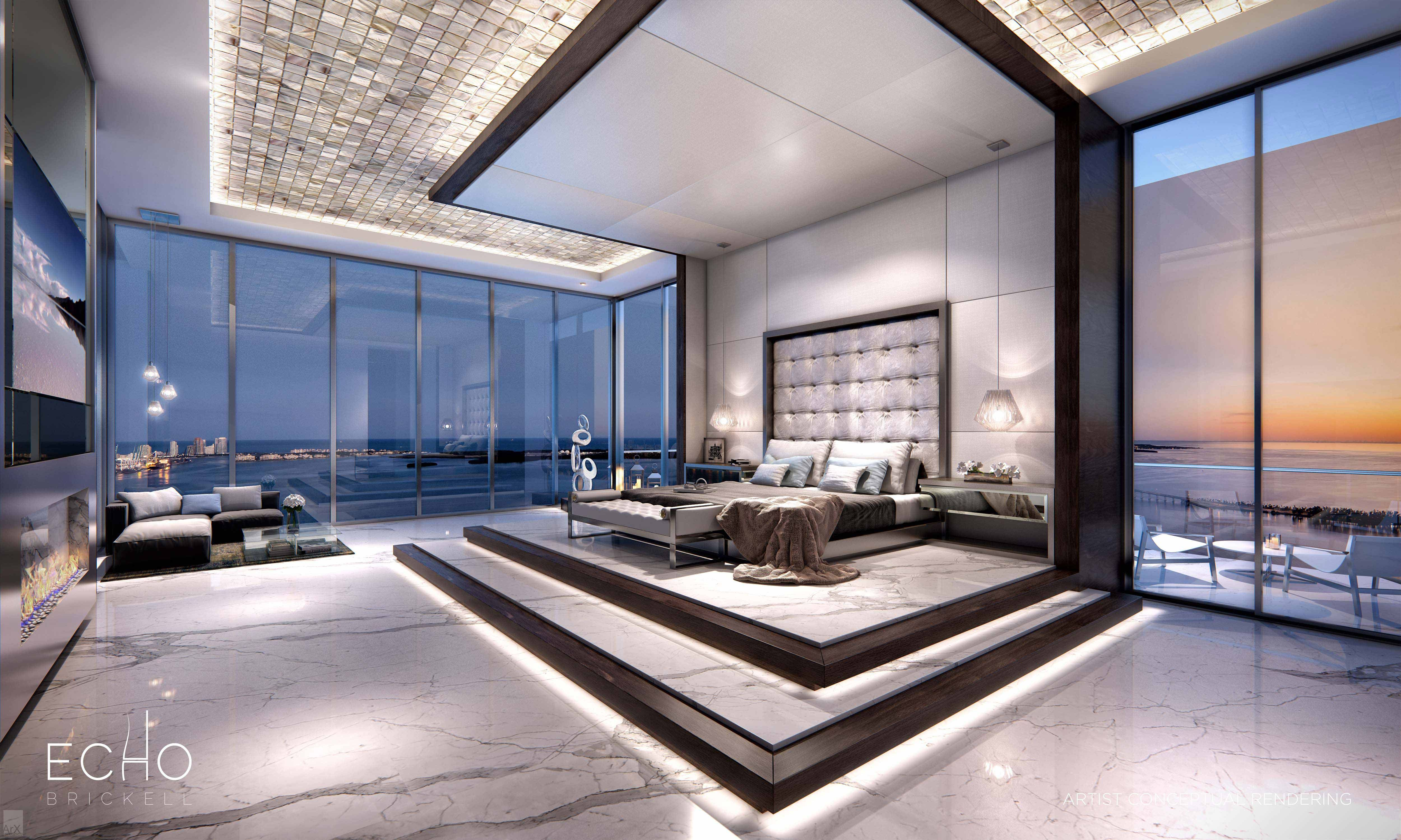 Echo Brickell Carlos Ott Penthouse Master Bedroom Luxury Bedroom