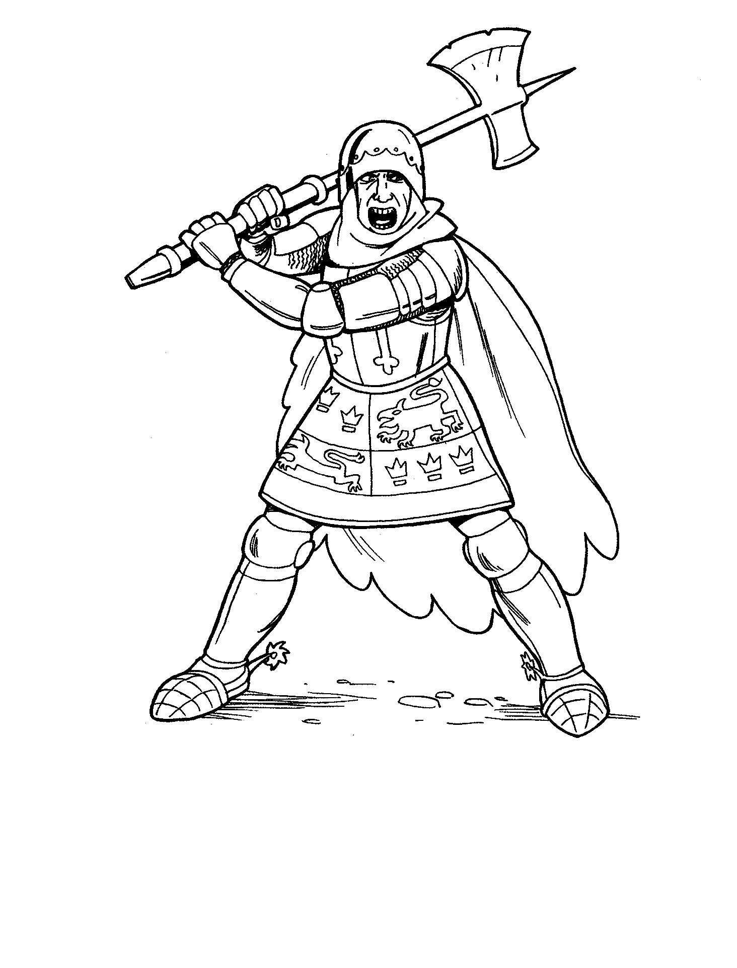 Knights Learned To Use An Ax Coloring Pages For Kids Dum Printable Kings Queens And Princesses Col Princess Coloring Pages Princess Coloring Coloring Pages
