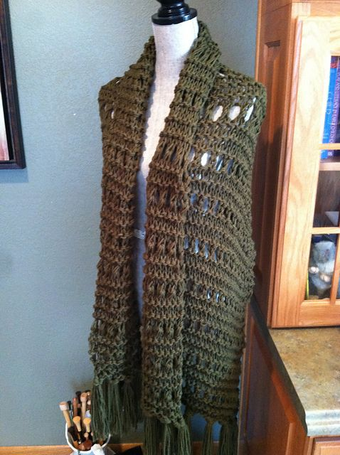 prayer shawl knitted in bottle green eyelet stitch | my designs ...