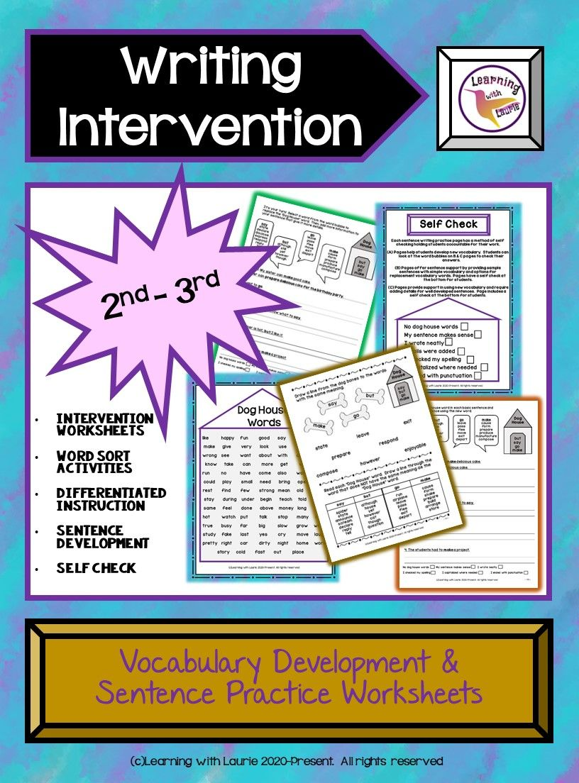 Writing Intervention Worksheets 2nd 3rd Writing Interventions Word Sort Activities Expository Writing [ 1104 x 816 Pixel ]