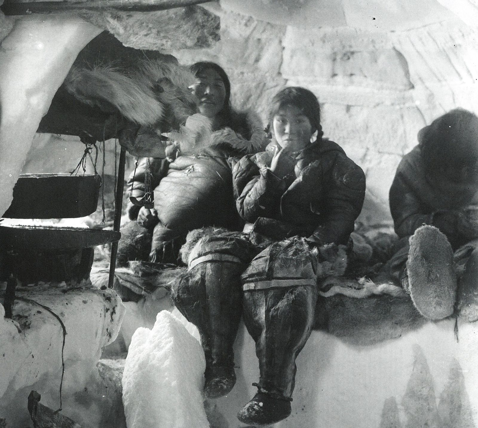 Inside The Igloo Of An Inuit Family On Southern King