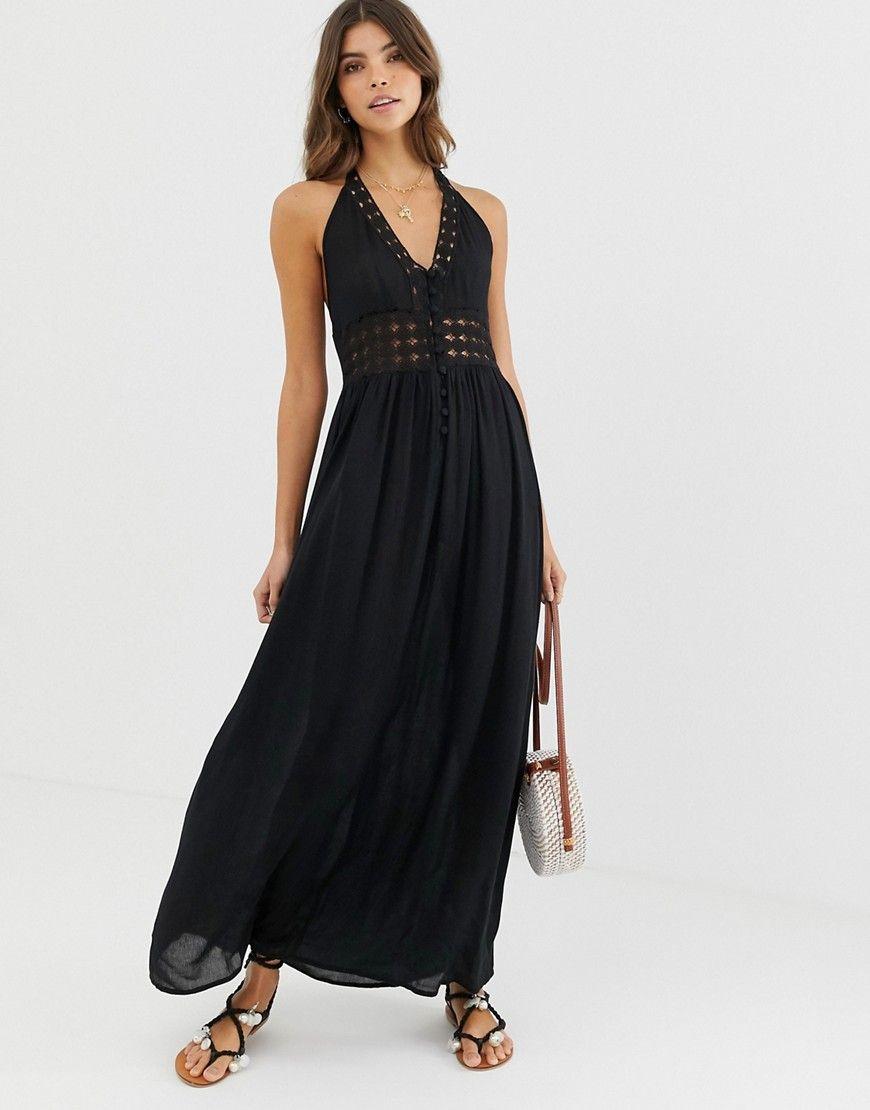Asos design halter maxi dress with lace insert maxi
