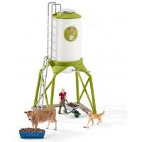 Schleich 41429 Farm World Feed Silo with Animals Play Set Barn Horse Stable